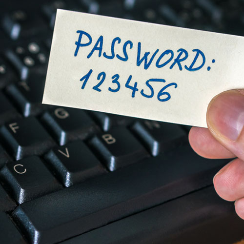 Hand holds paper with password