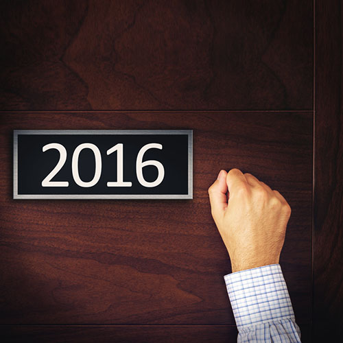 Businessman Knocking on New Year 2016 Door