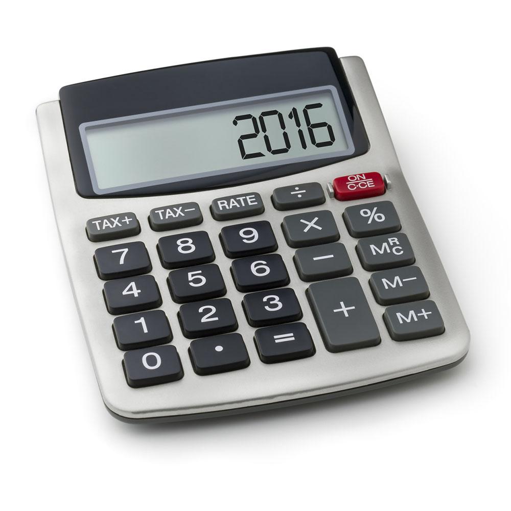 Taschenrechner mit dem Wort 2016 im Display